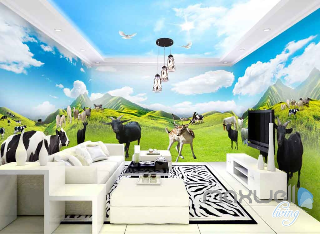 3d Farm Animals Mountain Cow Entire Room Wallpaper Wall