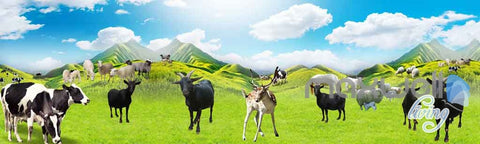 Image of 3D Farm Animals Mountain Cow Entire Room Wallpaper Wall Murals Prints IDCQW-000105