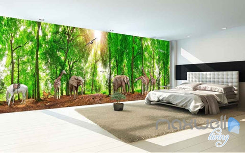 3D Africa Animals Forest Entire Room Wallpaper Wall Murals Prints  IDCQW 000106
