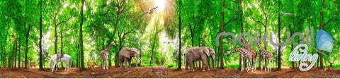 3D Africa Animals Forest Entire Room Wallpaper Wall Murals Prints IDCQW-000106