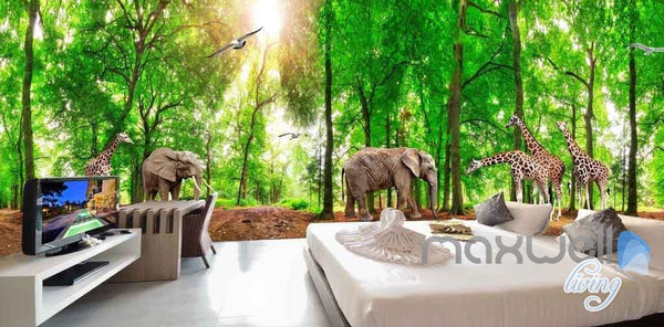 3d Africa Animals Forest Entire Room Wallpaper Wall Murals