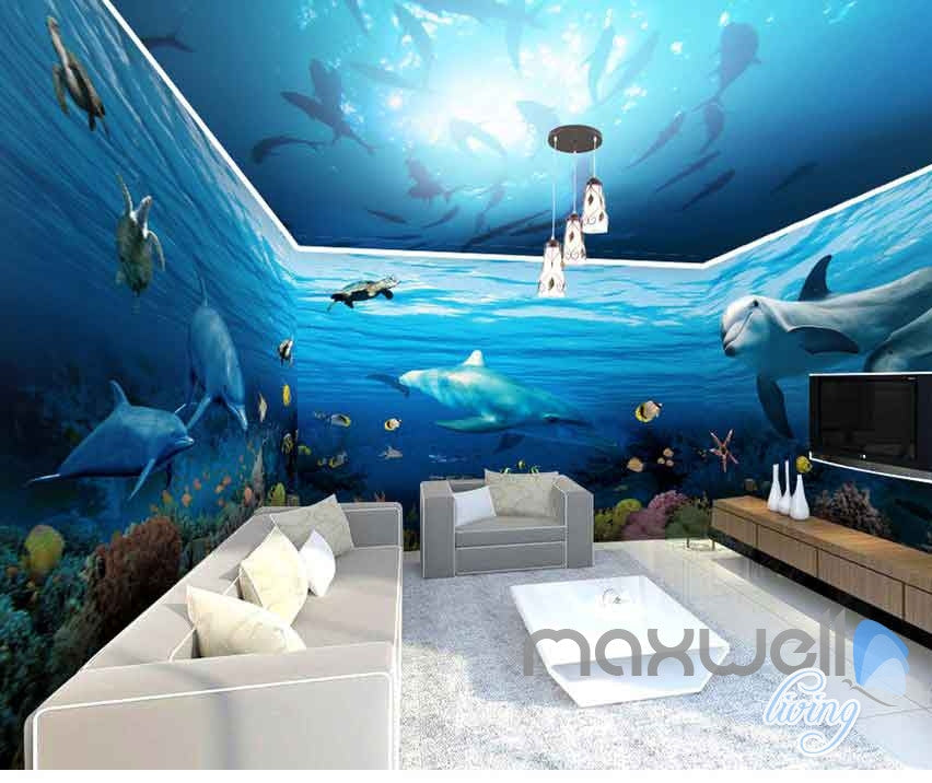 3D Shoal Fish Undersea Dophins Entire Room Wallpaper Wall Murals Art Prints IDCQW-000108