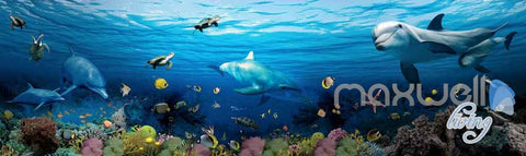 Image of 3D Shoal Fish Undersea Dophins Entire Room Wallpaper Wall Murals Art Prints IDCQW-000108