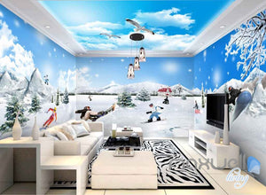 3D Snow Mountain Ski Entire Room Wallpaper Wall Murals Art Prints IDCQW-000109