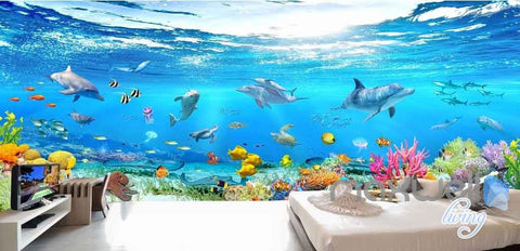 Image of 3D Aquarium Glass View Turtles Dophins Entire Room Wallpaper Wall Murals IDCQW-000111