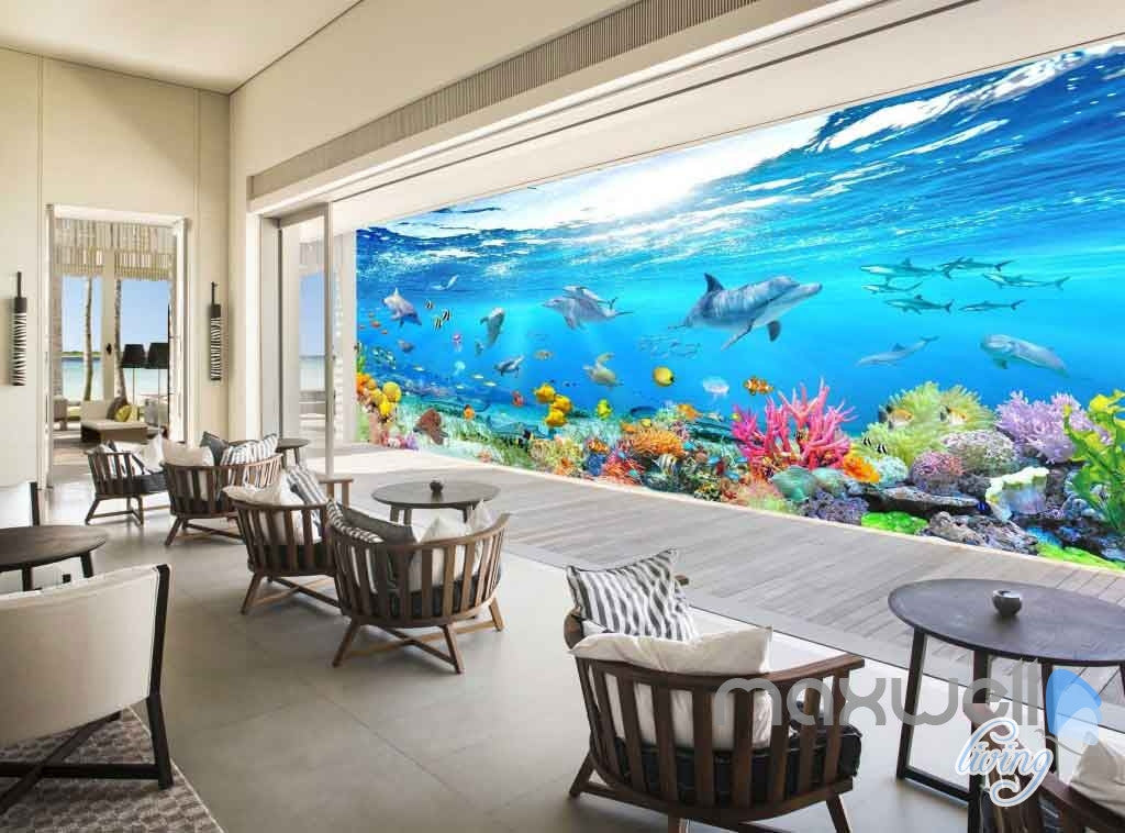 view wallpaper in a room 3d aquarium glass view turtles dophins entire room