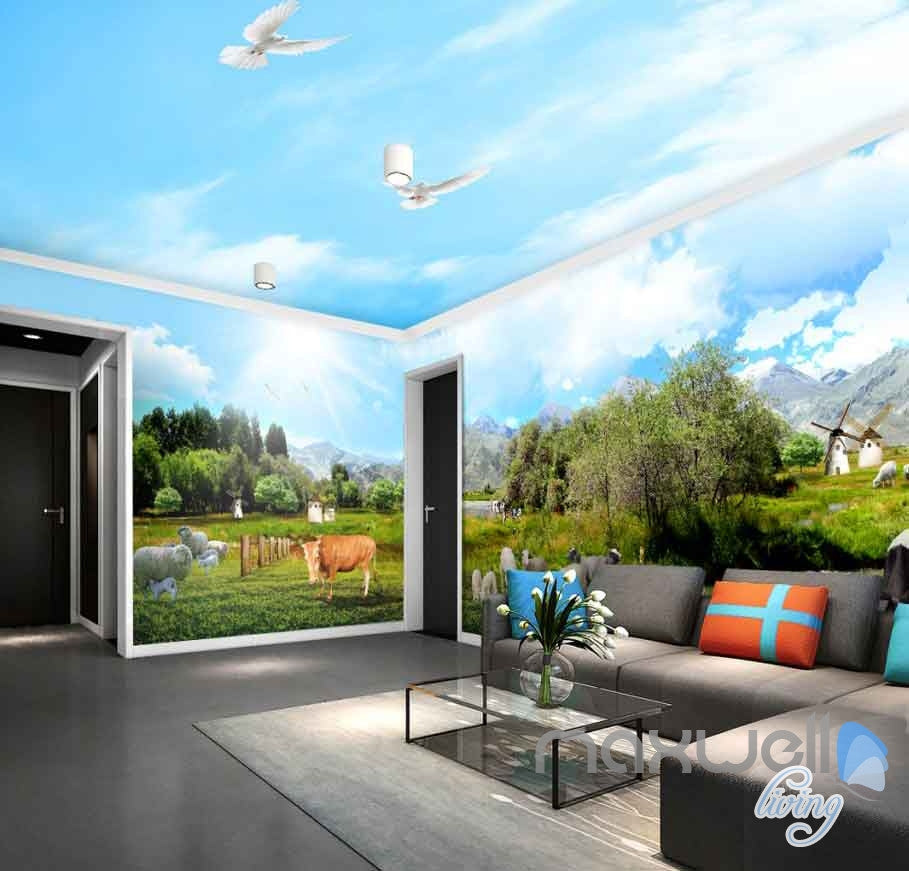 3D Farm View Sheep Cow Entire Room Wallpaper Wall Murals Business Decor IDCQW-000113