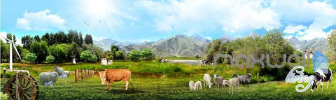 Image of 3D Farm View Sheep Cow Entire Room Wallpaper Wall Murals Business Decor IDCQW-000113