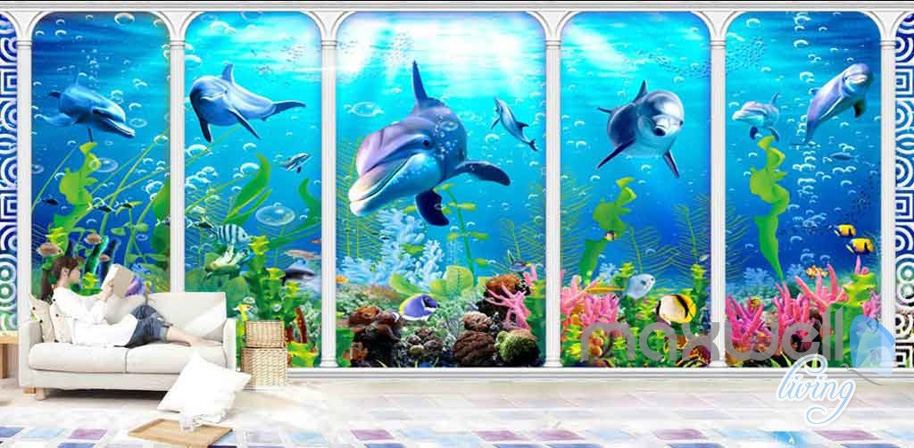 3D Underwater aquarium fish Entire Room Wallpaper Wall Murals Prints IDCQW-000115