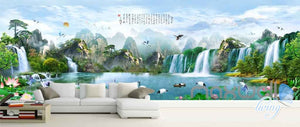 Classic Chinese Mountain Waterfall Entire Room Wallpaper Wall Murals Art Prints IDCQW-000117