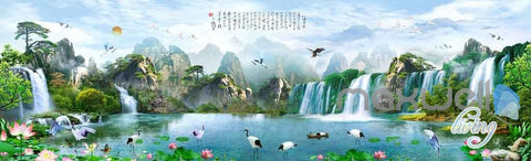Image of Classic Chinese Mountain Waterfall Entire Room Wallpaper Wall Murals Art Prints IDCQW-000117