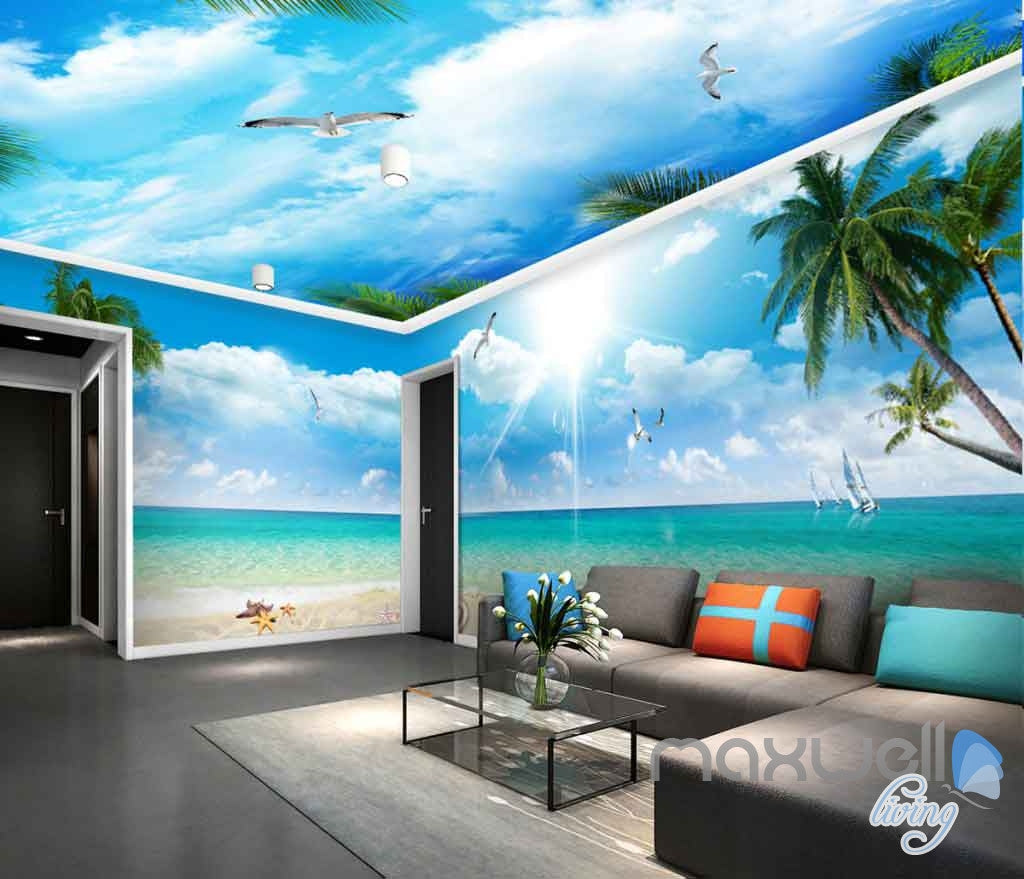 3D Beach View Starfish Palm Tree Entire Room Wallpaper Wall Murals Art Prints IDCQW-000118