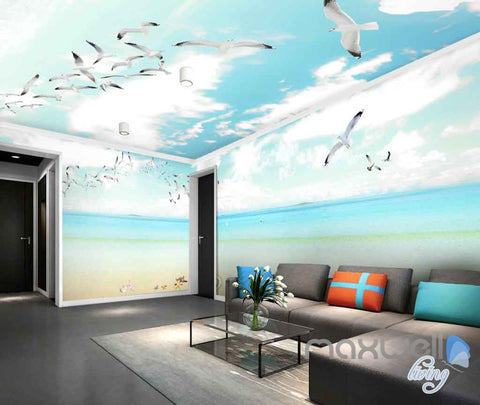 3D Seagulls Beach Heart Sunny Day Entire Room Wallpaper Wall Murals Prints IDCQW-000122