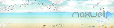 Image of 3D Seagulls Beach Heart Sunny Day Entire Room Wallpaper Wall Murals Prints IDCQW-000122