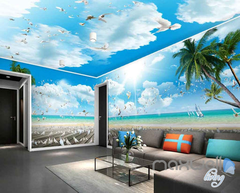 Image of 3D Beach Decking Pegion Entire Room Wallpaper Wall Murals Art Prints IDCQW-000123