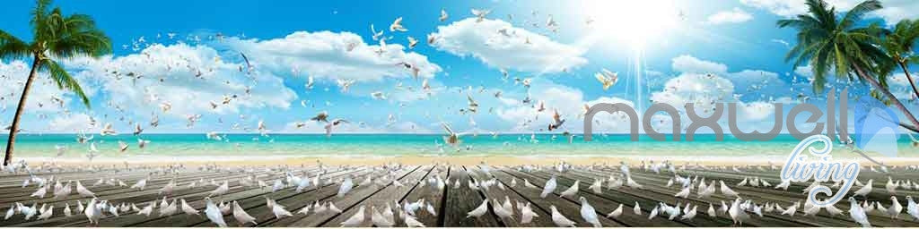 3D Beach Decking Pegion Entire Room Wallpaper Wall Murals Art Prints IDCQW-000123