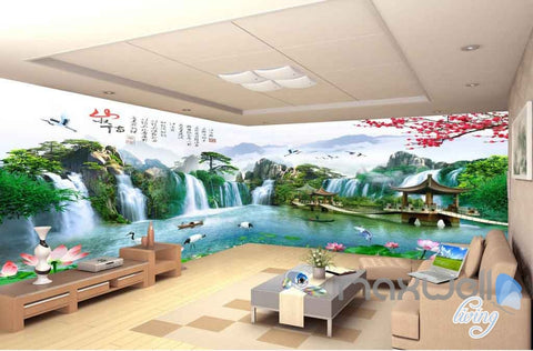 Pavillion Lotus Plum Blossom Mountain Wallpaper Wall Murals Art Prints IDCQW-000124
