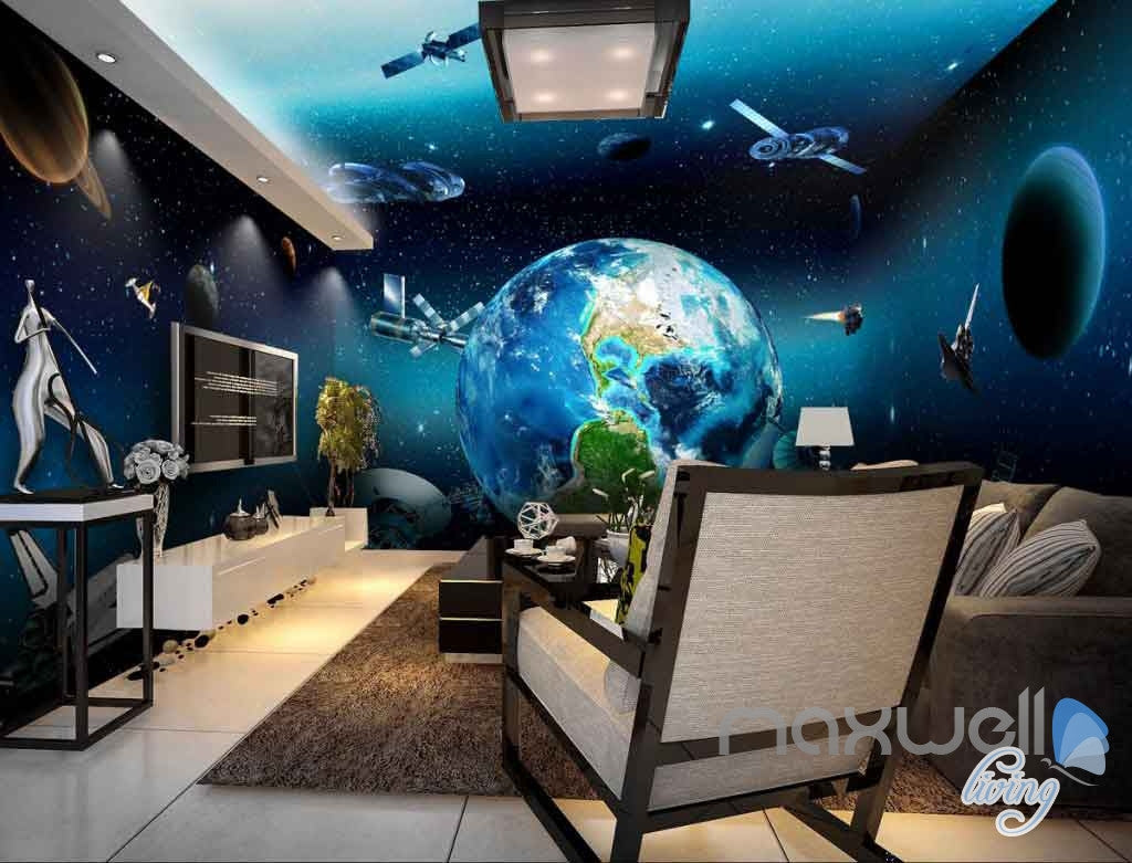 3d Earth View Satellite Universe Entire Room Wallpaper Wall Murals