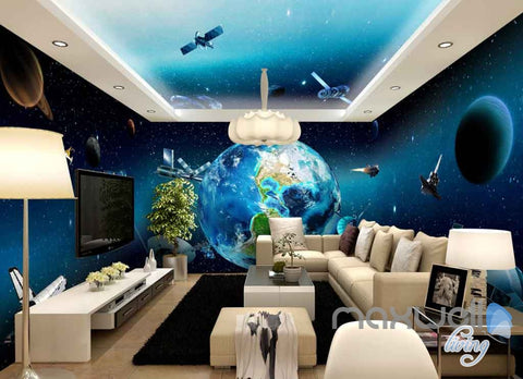 Image of 3D Earth View Satellite Universe Entire Room Wallpaper Wall Murals Art Prints  IDCQW-000127