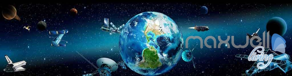 3D Earth View Satellite Universe Entire Room Wallpaper Wall Murals Art Prints  IDCQW-000127