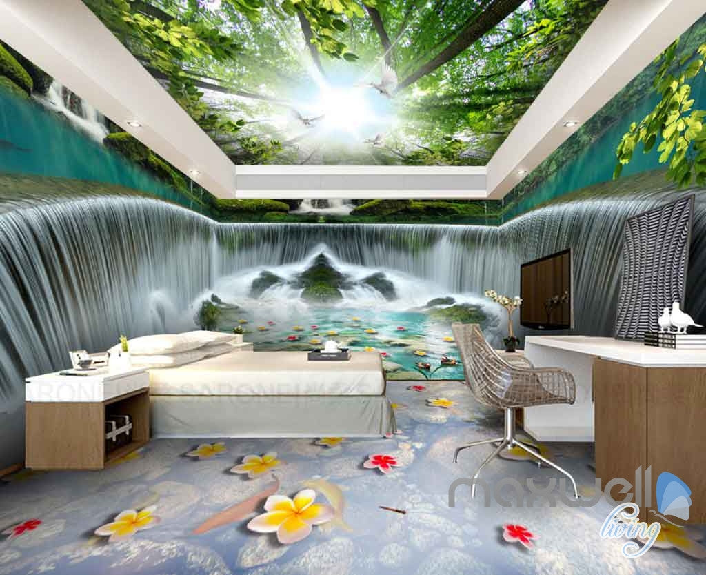 3D Huge Tree Forest Waterfall Entire Room Wallpaper Wall
