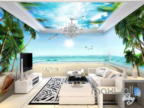 Image of 3D Tropical Palm Tree Beach Sunshine Entire Living Room Wallpaper Wall Murals Art IDCQW-000129