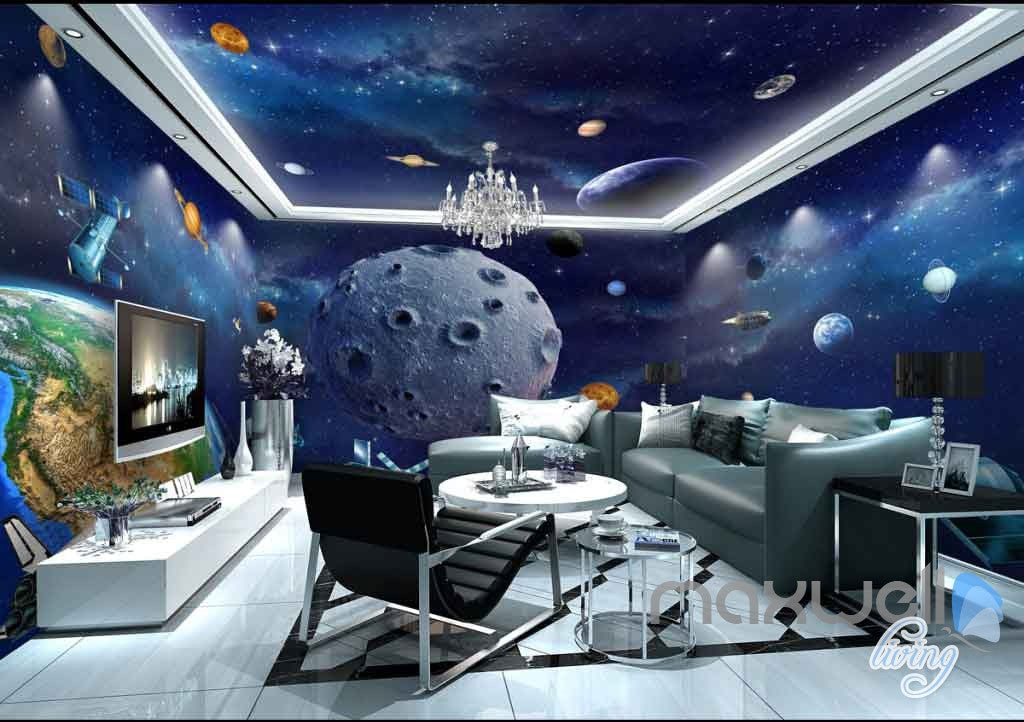 3D Earth Planet Ceiling Entire Room Wallpaper Wall Murals Art Prints IDCQW-000130