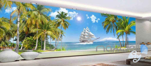 Image of 3D Tropical Island Sail Entire Living room Wallpaper Murals Art Prints IDCQW-000132