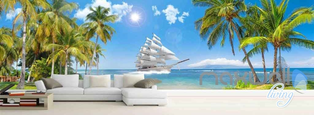 3D Tropical Island Sail Entire Living room Wallpaper Murals Art Prints IDCQW-000132