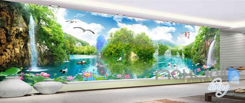 Image of 3D Wallterfall Lake View Entire Room Wallpaper Wall Murals Art Prints IDCQW-000135