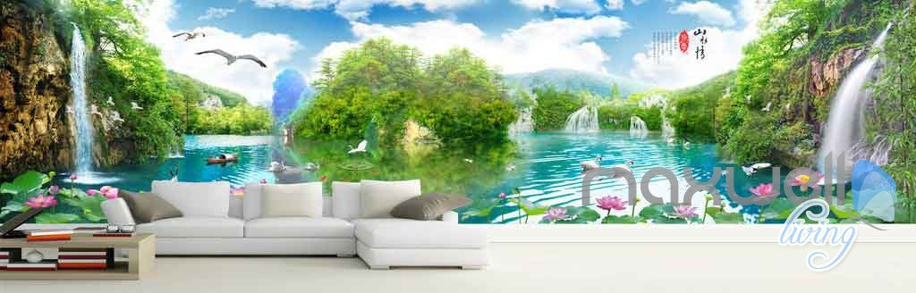 3D Wallterfall Lake View Entire Room Wallpaper Wall Murals Art Prints IDCQW-000135