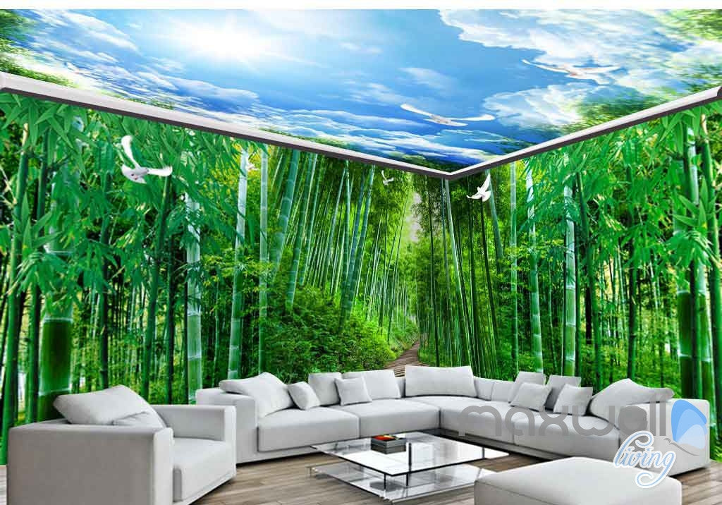 3D Huge Bamboo Forest Blue Sky Entire Room Wallpaper Wall