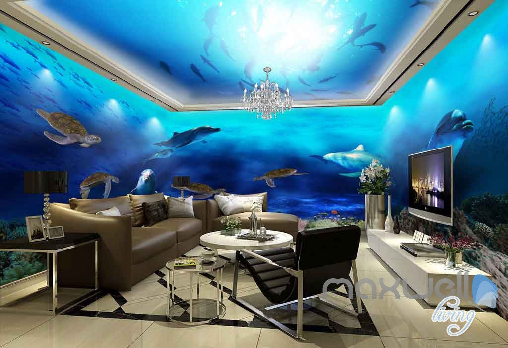 3D Fish Shoal Underwater Turtle Dophins Entire Room