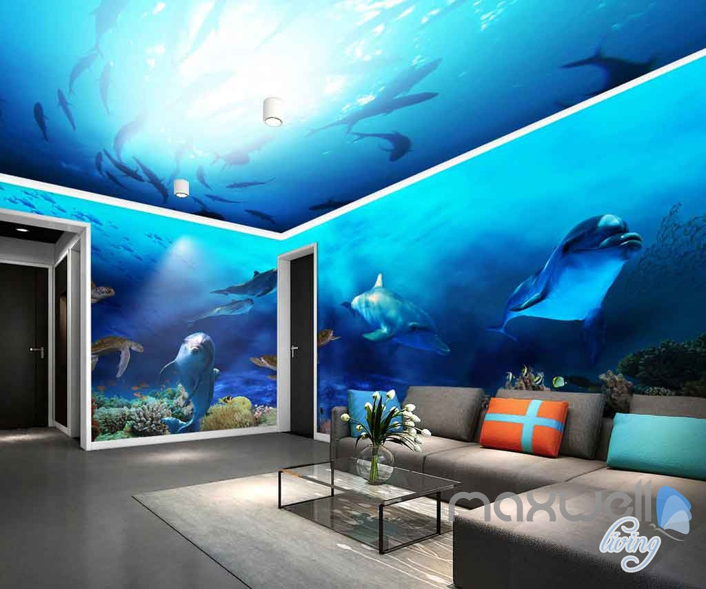 3D Fish Shoal Underwater Turtle Dophins Entire Room Wallpaper Wall Murals Art Prints IDCQW-000139