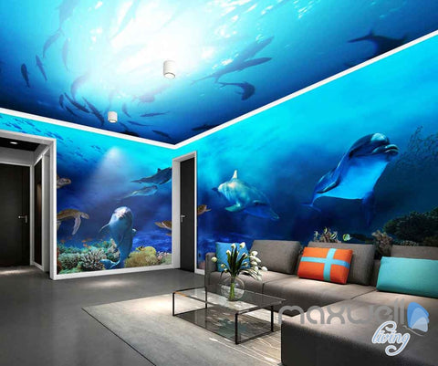 Image of 3D Fish Shoal Underwater Turtle Dophins Entire Room Wallpaper Wall Murals Art Prints IDCQW-000139
