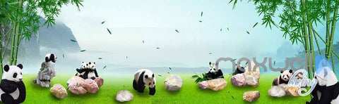 Image of 3D Panda Paradise Bamboo Entire Room Wallpaper Wall Murals Art IDCQW-000140