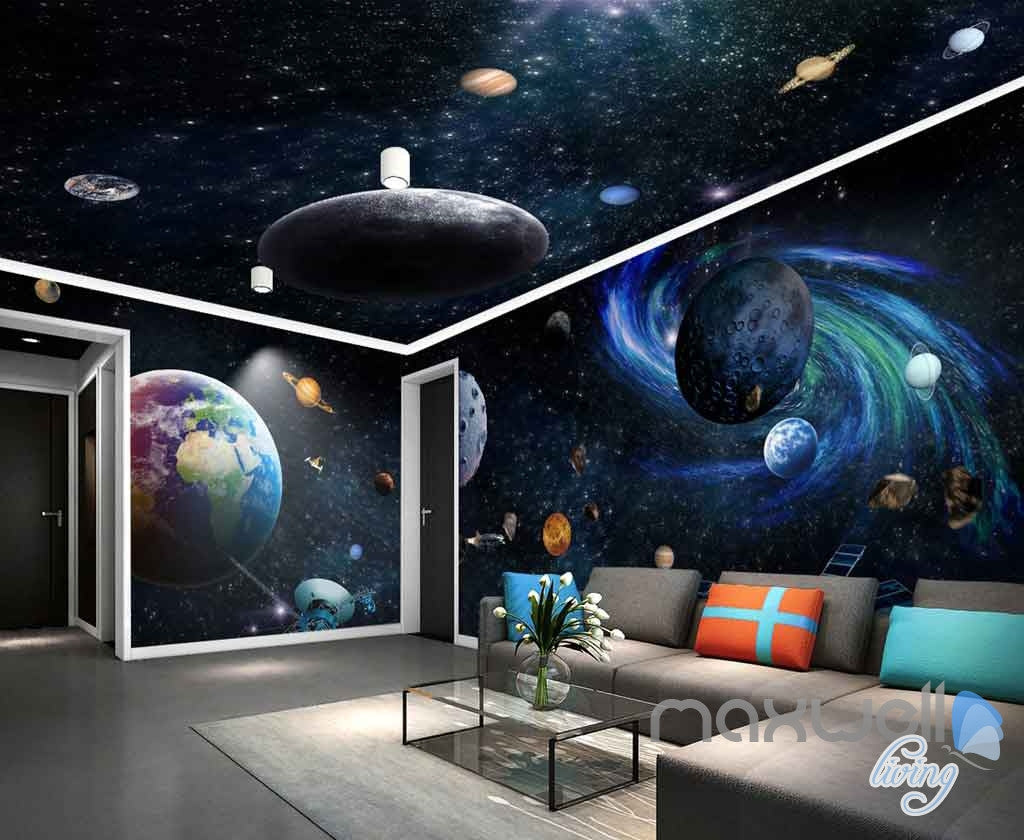 3d Galaxy Solar System Entire Room Wallpaper Wall Murals Art Prints Ebay