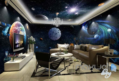 Image of 3D Galaxy Solar System Entire Room Wallpaper Wall Murals Art Prints IDCQW-000141