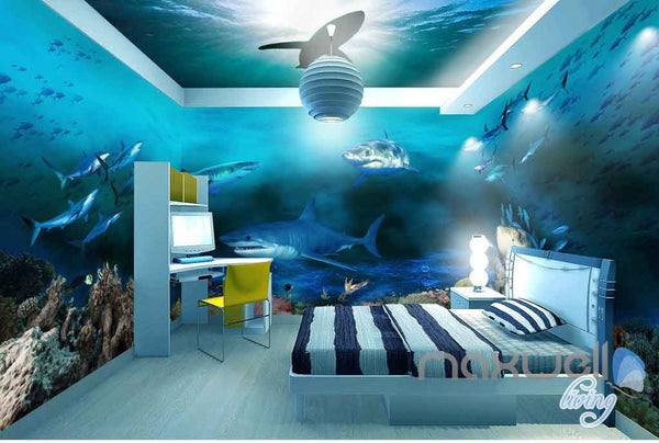 3D Sharks Shadow Underwater Entire Room Wallpaper Wall