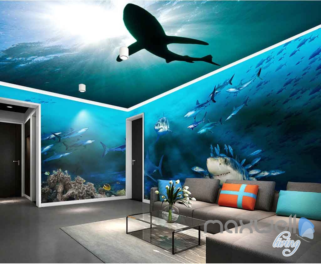 3d sharks shadow underwater entire room wallpaper wall murals art 3d sharks shadow underwater entire room wallpaper wall murals art prints idcqw 000142