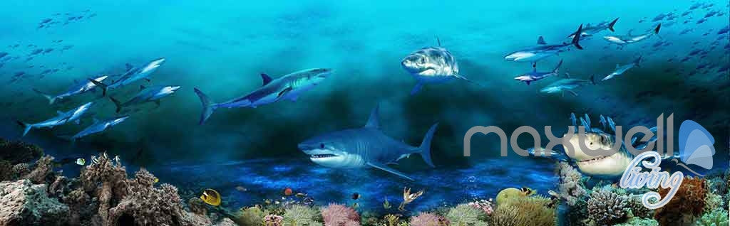 3D Sharks Shadow Underwater Entire Room Wallpaper Wall Murals Art Prints IDCQW-000142