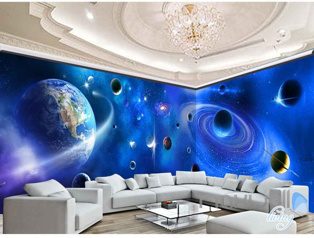 3d universe entertainment entire room bedroom wallpaper for Space themed bedroom wallpaper