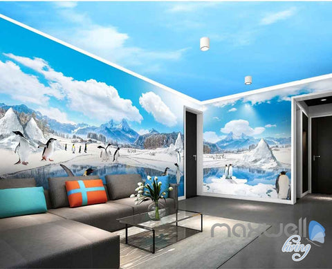 Image of 3D Anctica Penguins Iceberg Entire Room Wallpaper Wall Murals Art Prints IDCQW-000144