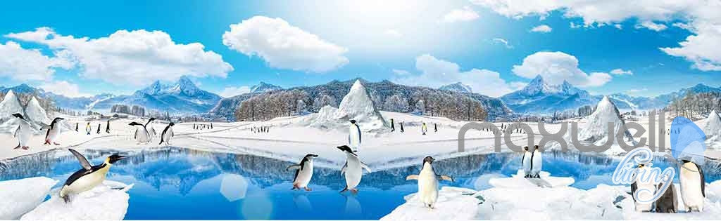 3D Anctica Penguins Iceberg Entire Room Wallpaper Wall Murals Art Prints IDCQW-000144
