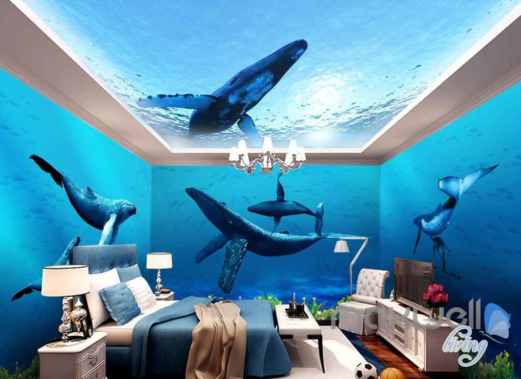 3d Whale Underwater Entire Living Room Bathroom Wallpaper
