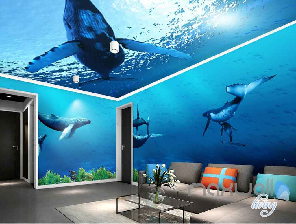 3D Whale Underwater Entire Living Room Bathroom Wallpaper Wall ...