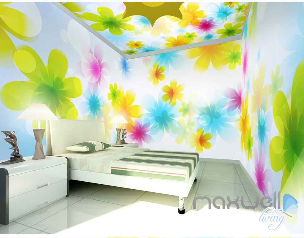 3d bright watercolor flowers entire living room bedroom for 3d effect bedroom wallpaper