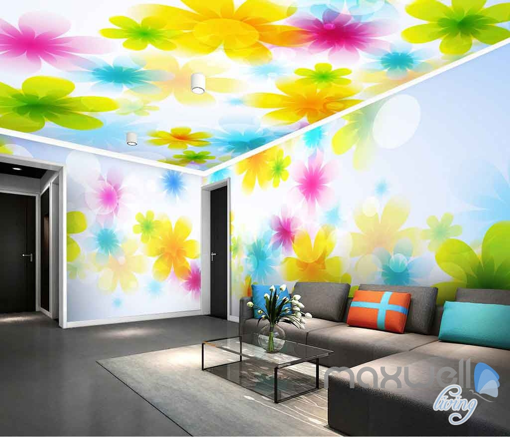 3d bright watercolor flowers entire living room bedroom for Bright bedroom wallpaper