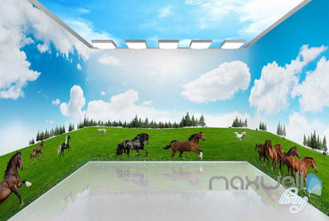Image of 3D Running Hourses Grassland Entire Living Room Wallpaper Wall Murals Art IDCQW-000147