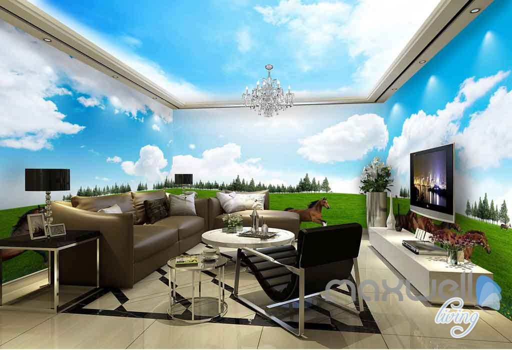 3D Running Hourses Grassland Entire Living Room Wallpaper Wall Murals Art IDCQW-000147